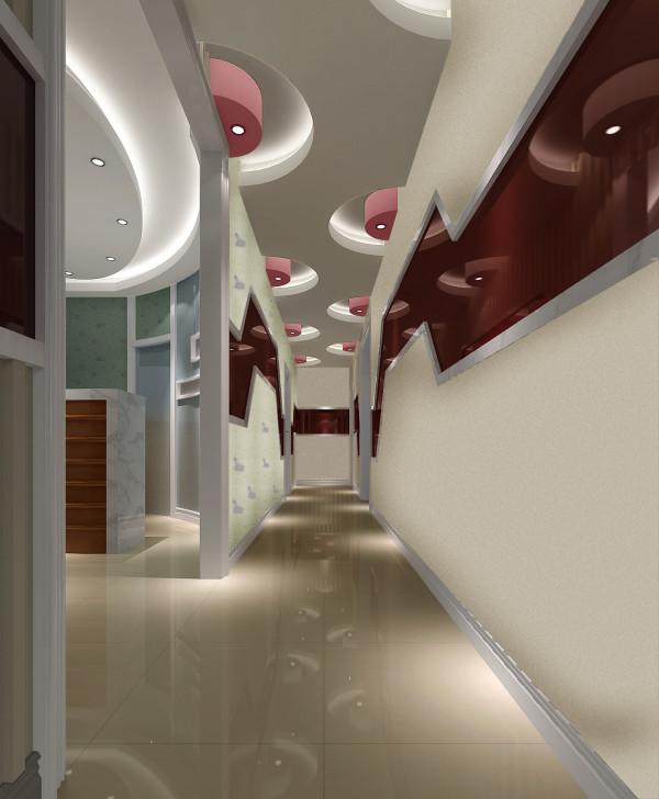 走廊,简欧——色彩明快、艳丽,主要针对儿童设计的,包括等待区域的位置,以休闲镂空花格为元素,使空间具有通透性,绿色壁纸的运用更体现空间跳跃性与冲击力。