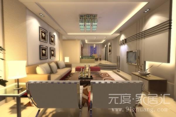 客厅颜色在我看来就是浑然天成,加上背景墙的点缀使室内不那么多单调。吊顶的灯具采用绿色灯这样使屋内颜色上,有一丝丝凉意,特别是夏天。
