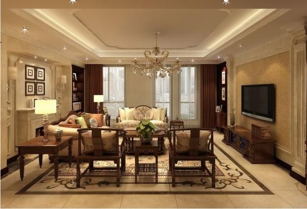 客厅:壁炉、造型墙上的装饰花线和电视背景墙罗马柱的配合使空间充满欧式风情。而中式传统韵味的圈椅、沙发组合则带来大气和历史沉淀感。地面丰富的拼花造型给室内带来精彩的一笔。