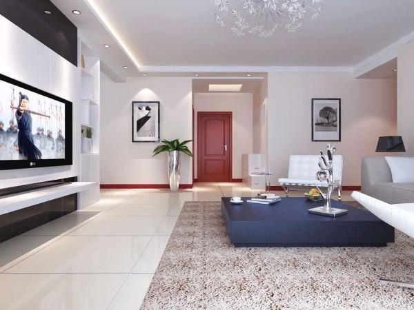 龙城一号160㎡现代简约风格客厅实景图