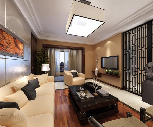 南阳盛世120㎡现代风格客厅实景图