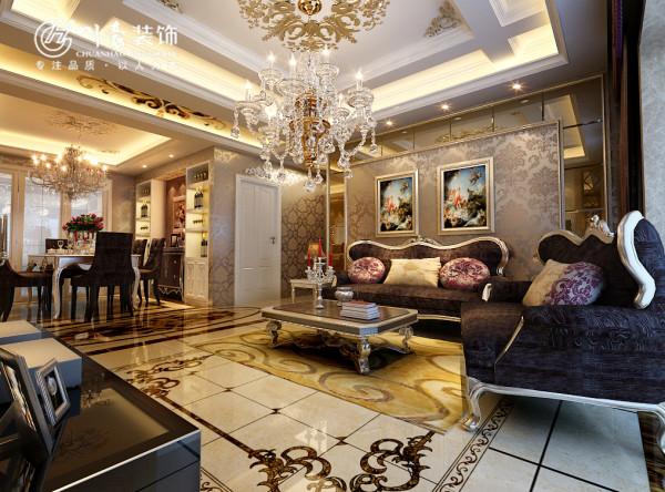 融侨官邸-140平米-欧式装修设计-客厅效果图。 地面瓷砖拼花为了欧式风格设计,用心打造的装修想法。