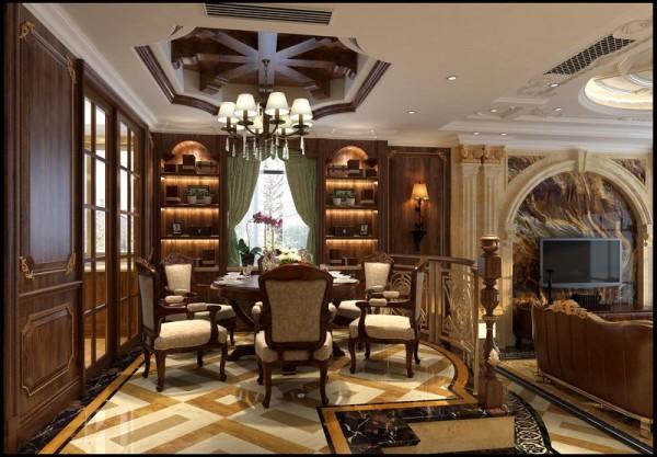 成都后花园别墅案例 美式风格 餐厅设计图
