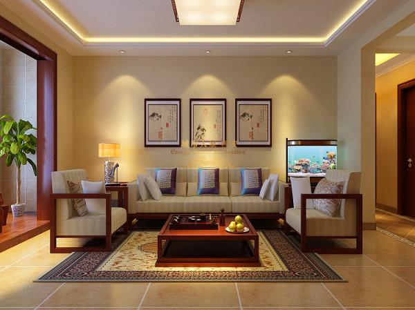空间内的色调为黄色系,在灯光下更让空间显现出暖意,背景墙上用中式古风画装饰填充,沙发的造型简洁但融合着一丝传统的韵味,软质的靠垫更加舒适,地毯的元素必不可少,丰富花纹的彰显让空间内更有古韵。
