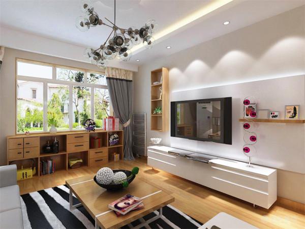 客厅的电视背景墙是以白色石膏板和原木色格柜组成