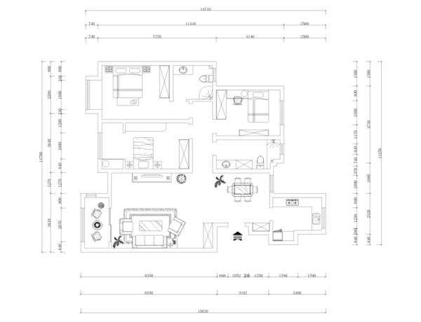本户型为大港矽谷港湾三室两厅一厨两卫,面积133㎡。入户右手边开始,依次是厨房、餐厅、卫生间、次卧室、主卧室、另一个次卧室、起居室。