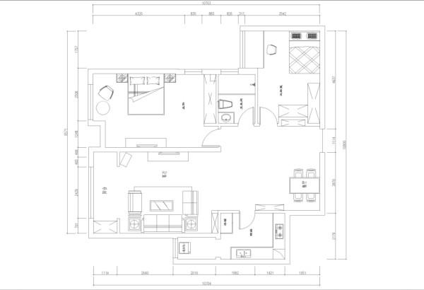 风格为现代简约,入户门左手为餐厅区域,向内延伸到客厅,右手为主卧室,相邻是厕所,次卧在入户门左手边,厨房位置位于餐厅左手边,设计风格为现代简约,基本无拆改。