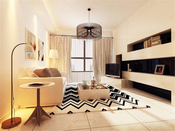 客厅与餐厅保持原有的空间利用,此次的设计风格还是以简约为主,主要有造型的位置为电视背景墙,做了一些细长的隔断,可以摆一些书籍和相框之类的小物