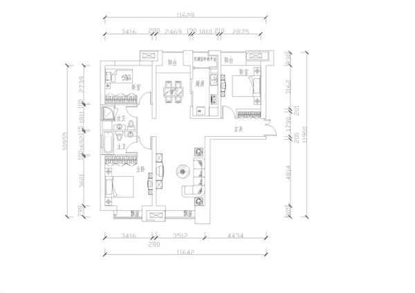 E户型3室2厅2卫1厨 141.00㎡,设计风格是简约风格。首先入户进门,前面是玄关,玄关左手边是客厅,玄关右手边分别是次卧室,厨房,和餐厅,餐厅和客厅空间差不多是直对着的区域。