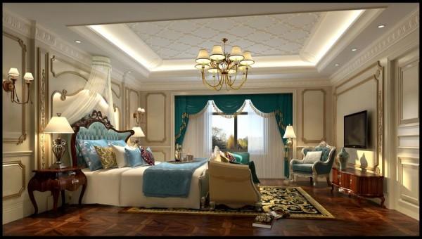成都后花园别墅案例 美式风格 次卧室设计图