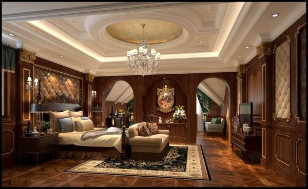 成都后花园别墅案例 美式风格 主卧室设计图