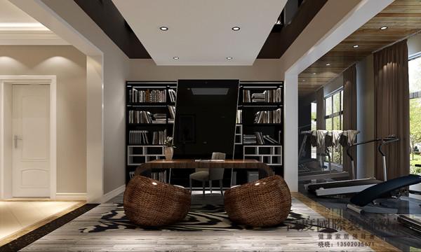 书房选用黑色的材质,给人一种深沉的感觉。
