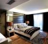 主卧室的色调是清冷而温暖的,稍显清冷的黑白色调体现主人的成熟稳重,但是卧室永远也是一个温暖的地方。