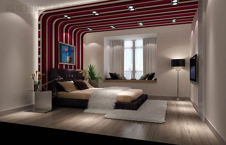 现代 二居 80后 小资 收纳 卧室图片来自高度国际别墅装饰设计在中景江山赋97平米现代风格公寓的分享