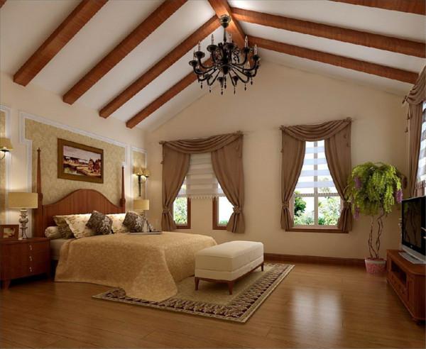 """三层次卧室:只要一提起""""乡村""""一词,我们总是能想起尖尖的三角顶。业主和设计师最满意的就是主卧室的顶部设计,在原有的斜坡顶面做了实木横梁的设计,使整个室内更贴近村舍意境。 整个室内简单大方不失稳重。"""