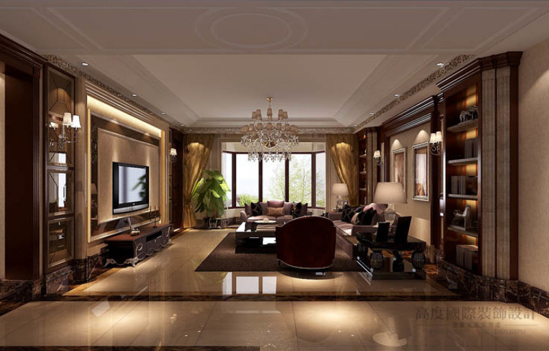 别墅 美式 效果图 设计案例 客厅图片来自高度国际设计装饰在金隅翡丽230平米美式古典案例的分享