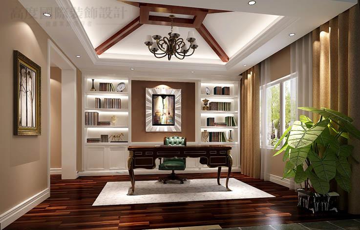 别墅 潮白河 混搭 装修 效果 小资 书房图片来自高度国际别墅装饰设计在潮白河孔雀城混搭风格别墅设计的分享