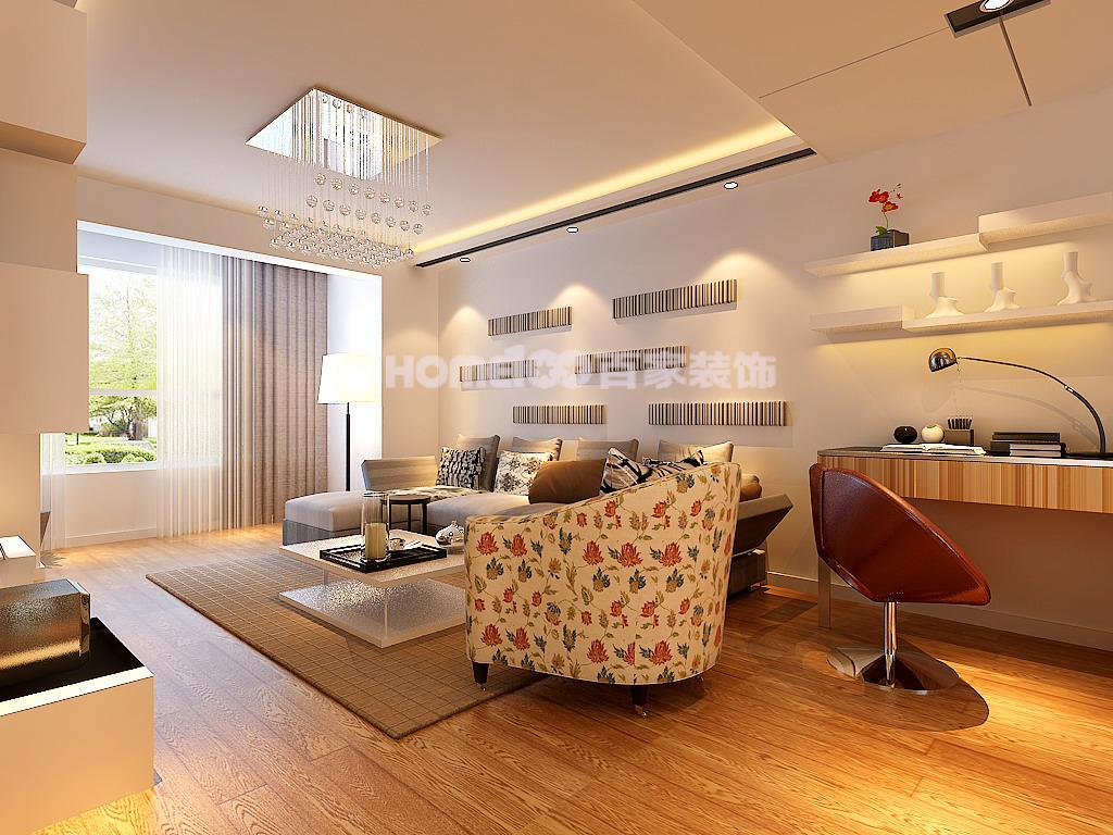 简约 三居 客厅图片来自百家设计小刘在华润置地广场104平的分享