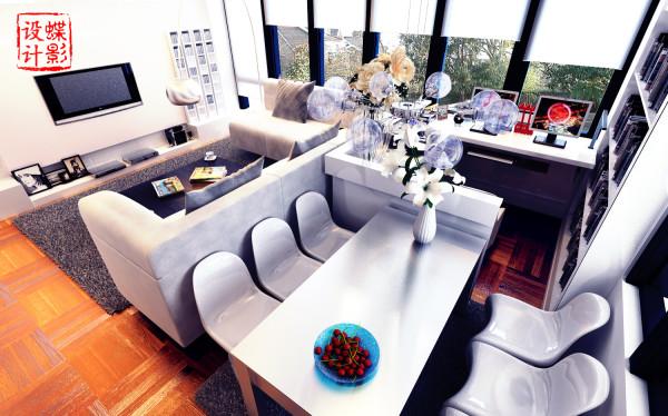 电视背景墙简洁的凹凸造型,搭配红砖的纹理,无需过多的粉饰;顶部造型吊顶将客厅和书房餐厅区域很好的划分开,客厅深色地毯,木制花拼地板弥补了空旷感,增加温馨氛围;