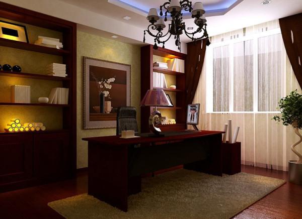 书房和客厅有着不同的风格,优雅稳重