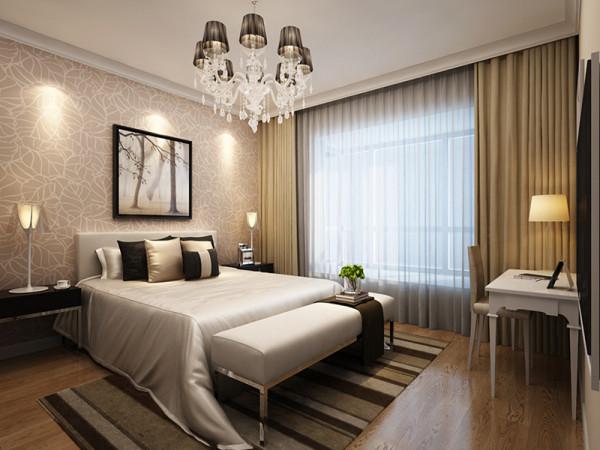 现代风格的设计是功能性的设计,在卧室的的装修里尽可能的体现他的实用性,而且运用最多的就是白色。白色给人以时尚的、纯洁的感觉,床头的印花壁纸衬托出整个卧室的优雅情调。