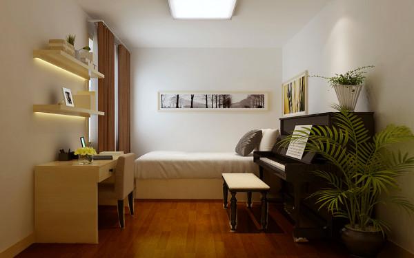 次卧室是客户小绅士似的儿子的天地,在这个小天地里除了休息玩耍还兼备了学习的功能,所以不提倡大部分的明亮色彩,简单为好,让孩子在简单明快的空间里快乐的学习。
