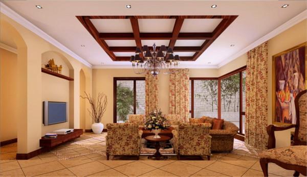 本案设计为简欧风格,宽敞舒适的客厅配合深色地砖卓显稳健,电视背景墙的拱形结构的运用恰到好处即装饰了墙面,同时和两侧的门先呼应避免了多余的折射.