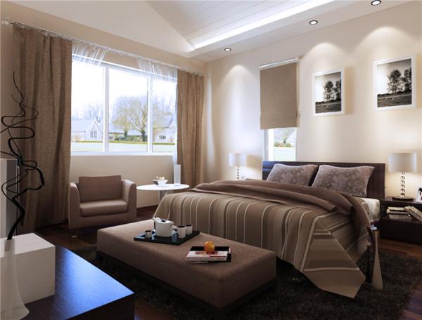 设计理念:沉稳的颜色搭配,可以舒缓人的心情,灯光的搭配使房间更有层次感。 亮点:主卧给人以沉稳静雅的感觉。
