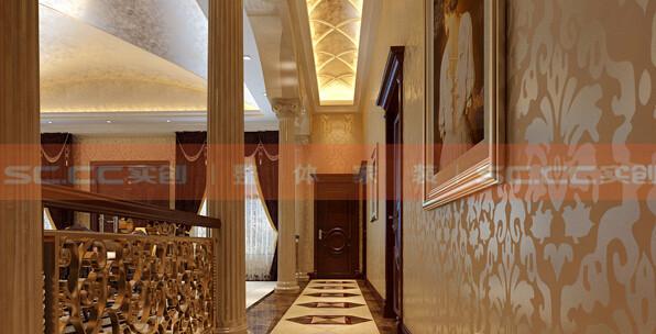 功能:走廊 设计理念:走廊的整体尽显欧式风情,基调统一。 亮点:走廊扶手的镂空雕花与墙纸的花纹交相呼应。高出地面的错落式走廊可以很好区分客厅区域。