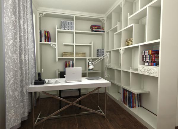 主卧室也是本着现代简约的风格设计,色系依然是黑白灰,只是黑灰是搭配,白色是主色,这样色彩上会让人感觉很安静,并且主卧这面的灯光是采用的暖光源。主卧书房就是很现代化的办公环境