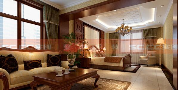 功能:主卧 设计理念:温馨、舒适是这个卧室的主题。 亮点:由于是老人居住,所以特地加了一套沙发,方便老人起居,整体搭配温馨淡雅。