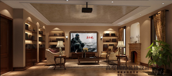 影音室兼具书房的作用,装有影音设备,用一些弧形造型做书柜的衬托,增加了储物空间,增强了美观性。