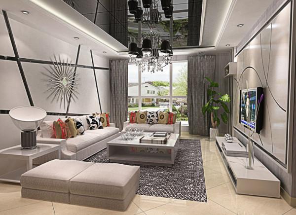 客厅的设计大部分采用曲线和非对称线条构成,整体采用黑白灰的色系,由于整个空间都是黑白灰会显得没有生机,所以在沙发靠垫上用了比较鲜艳的颜色,在配上一株绿植,就感觉空间活了起来