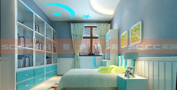 功能:儿童房 设计理念:整个房间的基调以白蓝为主,青春与活力是这个卧室的主题。 亮点:书柜与墙体嵌合为一体,既节约了空间又保证了安全。为孩子的学习与探索提供了方便之门。