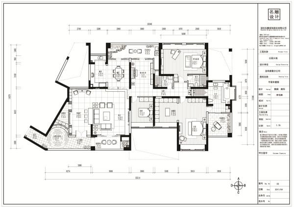 名雕装饰设计-公园大地三居室平面图