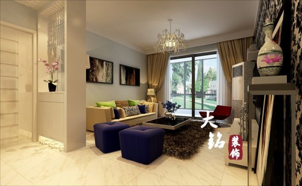 本案为两室格局,室内设计运用黑白色为空间色调淡蓝色为辅调。给人一种淡雅、靓丽和温馨的感觉。陈设设计将时尚感觉和新意注入原本的现代风格。并加入奢华元素及点缀的色彩,使空间显得时尚又不是尊贵。