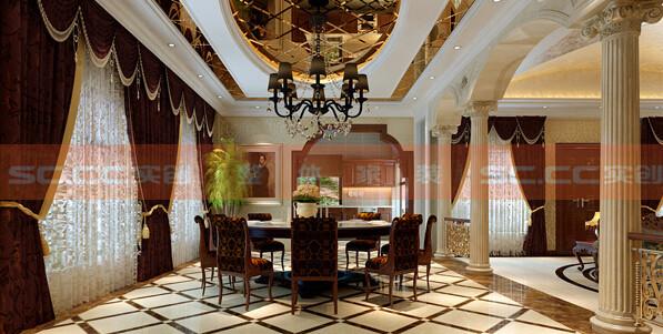 功能:餐厅 设计理念:通过开放式厨房的门,餐厅与厨房结为一体。餐厅顶面的镜子反射出丰盛的食物,高高的吊灯开启之际将是主人最美好的晚餐时间。