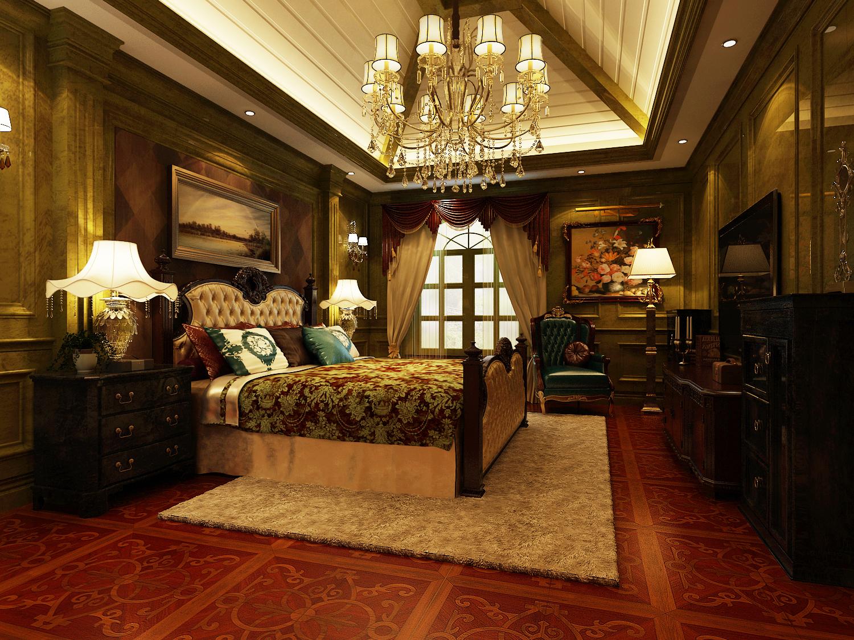 欧式 别墅 古典 绿色 卧室图片来自尚层装饰大林在带你重走文艺复兴--远洋天著的分享
