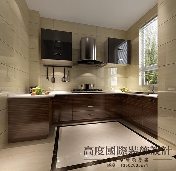 厨房选用地面拼花将区域进行划分,墙砖选用地砖上墙,整个空间很有整体性。