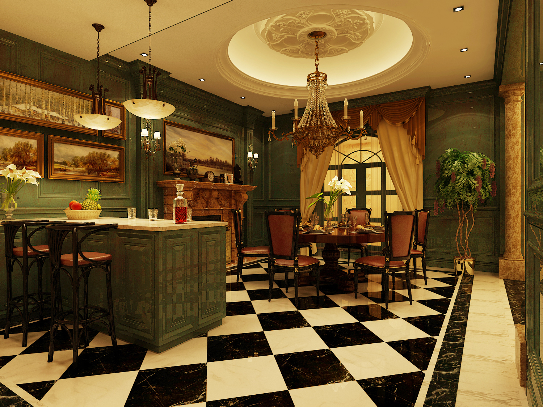 欧式 别墅 古典 绿色 餐厅图片来自尚层装饰大林在带你重走文艺复兴--远洋天著的分享
