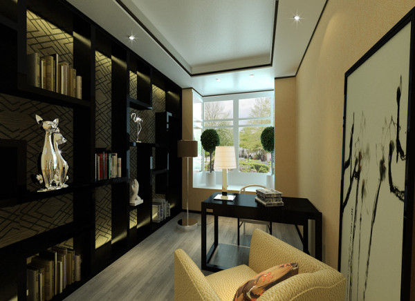墙面打造的多宝格柜子既实用又美观。家具的颜色较重,虽可营造出稳重效果,中式书房有大面积的窗户,让空气流通,并引入自然光及户外景致。