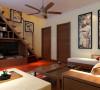 东南亚风格家具造型和色彩,混合中国水墨画的挂画,色彩亮丽而柔和,墙面乳白色墙漆使得空间更加温馨。亮点:楼梯下使用电视组合柜充分利用空间。