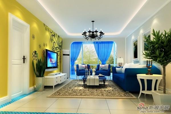 成都实创装饰—整体家装—120平米三居室—地中海风格—客厅装修效果图