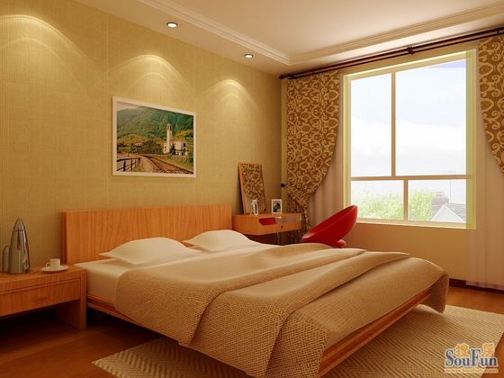 简约 二居 客厅 卧室图片来自北京实创集团在中央悦城的分享