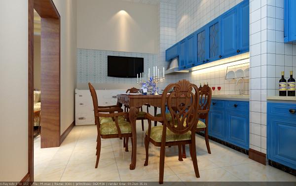餐厅,以及敞开式厨房为一体,使空间更为宽阔、明亮,顶面没有过多的造型,由于房间非常高,给人以豁然开朗的感觉,加之蓝色的橱柜,有一种碧水蓝天的清爽感觉