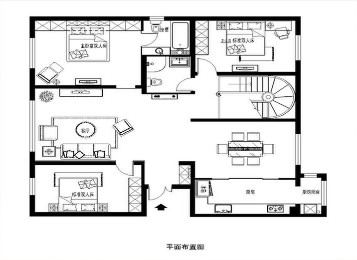 欧式 二居 三居 白领 收纳 80后 小资 户型图图片来自shichuangyizu在悦泽苑150平米富丽典雅的欧式的分享