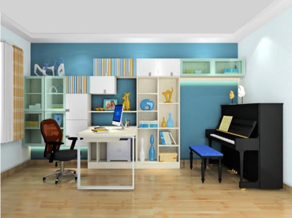 深蓝的墙纸让书房变得温馨又欢快
