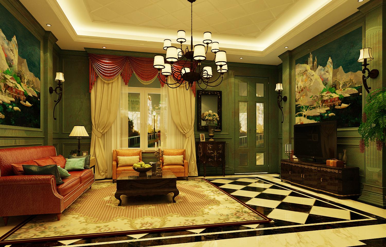 欧式 别墅 古典 绿色 客厅图片来自尚层装饰大林在带你重走文艺复兴--远洋天著的分享