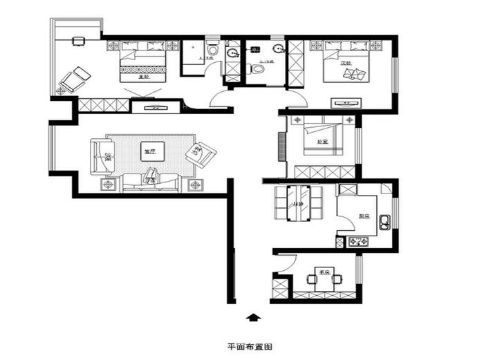 混搭 三居 白领 收纳 80后 小资 户型图图片来自shichuangyizu在润泽公馆144平东南亚,三居室的分享