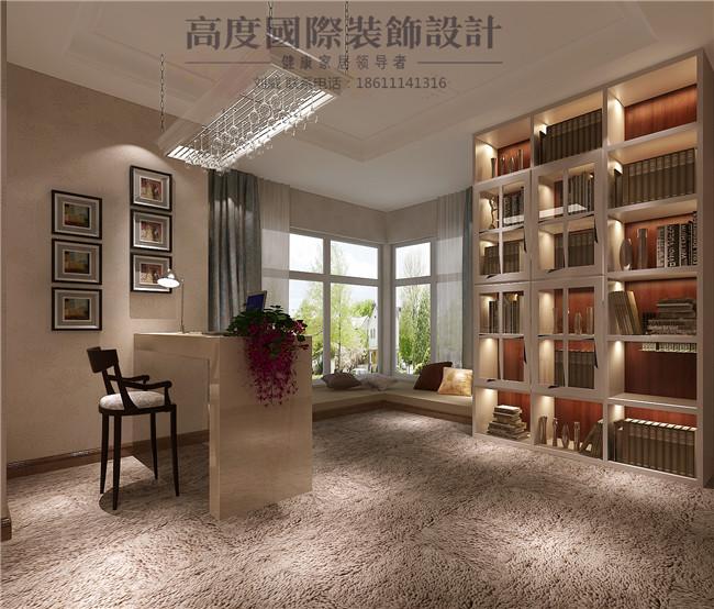 三居 简约 欧式 田园 混搭 书房图片来自高度国际装饰设计刘威在御翠尚府三居简欧风格的分享